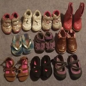 10 pairs of toddler girls shoes